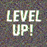 Level Up glitch text. Anaglyph 3D effect. Technological retro background. Vector illustration. Creative web template. Flyer, poster layout. Computer program stock illustration