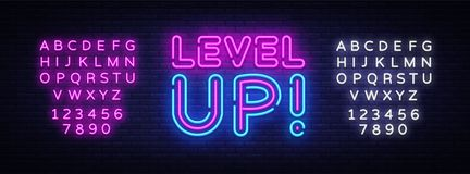 Level Up Neon Text Vector. Level Up neon sign, design template, modern trend design, night neon signboard, night bright. Advertising, light banner. Vector royalty free illustration