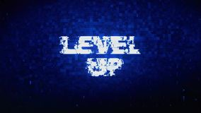 Level Up Text Digital Noise Twitch Glitch Distortion Effect Error Animation. Level Up Text Digital Noise Twitch and Glitch Effect Tv Screen Loop Animation royalty free illustration