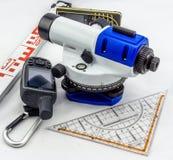 Leveling device, staff, yardstick, ruler, GPS, rangefinder stock photos