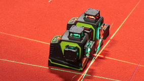 Leveling laser device on red carpet stock video
