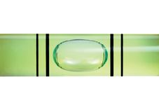 Levelled spirit level gauge macro closeup isolated Stock Photography
