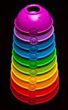 Levels. Colorful toy isolated on black background with numbers 1-10, abstract levels concept Royalty Free Stock Photography