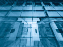 Through the levels. Transparent architectural abstract - geometric 3d background Royalty Free Stock Photo