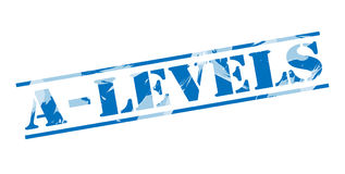 A levels blue stamp. On white background Stock Photo