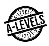 A-Levels rubber stamp. Grunge design with dust scratches. Effects can be easily removed for a clean, crisp look. Color is easily changed Stock Images