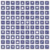 100 leven aardpictogrammen geplaatst grunge saffier Royalty-vrije Stock Afbeelding