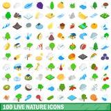 100 leven geplaatste aardpictogrammen, isometrische 3d stijl Stock Foto's