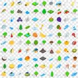 100 leven geplaatste aardpictogrammen, isometrische 3d stijl Royalty-vrije Stock Afbeelding