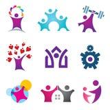 Levend de grote het pictogramreeks van het levens gelukkige sociale mensen stock illustratie