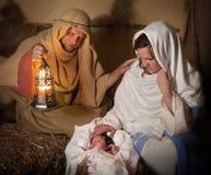 Levende de scène van de geboorte van Christus stock afbeeldingen
