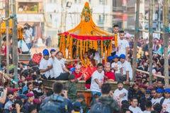 Levende God - Kumari in Kar in Indra Jatra Festival in Katmandu royalty-vrije stock foto's