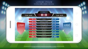 Levende van de voetbalvoetbal zendt het mobiele, Scorebordteam A versus team B en globale stats grafisch voetbalmalplaatje uit Royalty-vrije Stock Foto