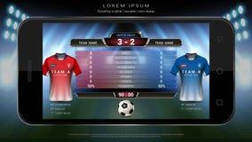 Levende van de voetbalvoetbal zendt het mobiele, Scorebordteam A versus team B en globale stats grafisch voetbalmalplaatje uit Stock Fotografie