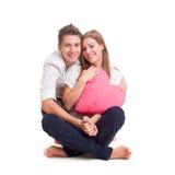 Levendig jongen en meisje met hart royalty-vrije stock afbeelding