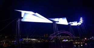 Levendig Sydney is een vrij jaarlijks evenement van lichten stock afbeelding