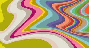 Levendige colores, golvende, gestreepte oppervlakte die, op abstract patroon kronkelen Royalty-vrije Stock Afbeeldingen