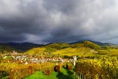 Levendige kleuren van de herfstwijngaarden in Andlau, de Elzas Royalty-vrije Stock Fotografie