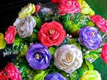 Levendige Kleurrijke Stoffenbloemen in de Pot royalty-vrije stock foto's