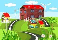 Levendige landbouwgrond, gekleurde landbouwbedrijfhuizen onder groene heuvels met wegen stock illustratie
