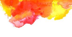 Levendige rode oranjegele waterverfachtergrond Stock Fotografie