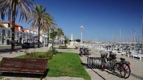 Levendige straten van de stad Vila Real Santo Antonio portugal stock videobeelden