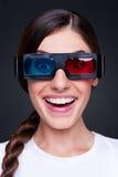 Levendige vrouw in 3d glazen Royalty-vrije Stock Foto