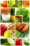 Levensmiddel. Fruit en groenten. Collage Stock Afbeeldingen