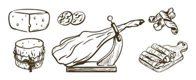 levensmiddelen Reeks vectorillustraties op wit Royalty-vrije Stock Fotografie
