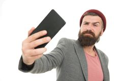 Levensstijl blogger Knappe hipster die selfie foto voor persoonlijke blog nemen De online blog van het aandeelleven Digitale infl stock foto