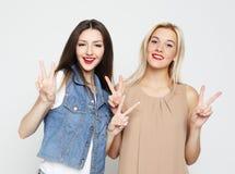 Levensstijl en mensenconcept: Twee jonge meisjesvrienden royalty-vrije stock afbeelding