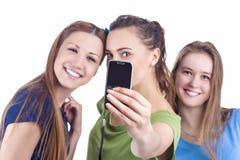Levensstijlconcept en Ideeën Drie Mooie Kaukasische Dames Ta stock fotografie