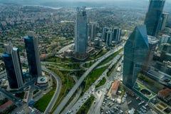 Levent District sikt från safirobservationsdäcket, Istanbul, Turkiet arkivfoton