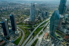 Levent District, view from Sapphire observation deck, Istanbul, Turkey stock photos