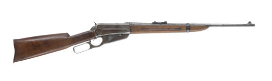 Lever Action Rifle Isolated on White Background Right Royalty Free Stock Photo