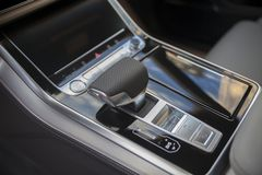 Lever of automatic transmission in a luxury car. Close up stock photo