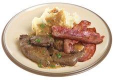 Lever, Bacon & Fijngestampte Aardappelmaaltijd Royalty-vrije Stock Afbeeldingen