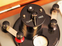 Lever with Clamp and Free positions on an historic test instrument Royalty Free Stock Photos