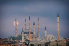 Lever de la lune à Edirne Photographie stock libre de droits