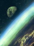Lever de la lune au-dessus de la terre Photo stock
