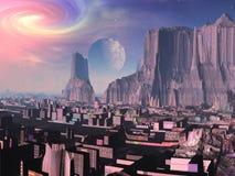 Lever de la lune au-dessus de ville neuve de la Chine illustration libre de droits