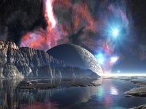 Lever de la lune au-dessus du lac étranger Image stock