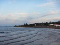 Lever de la lune au-dessus de l'océan, pugwash Nova Scotia photographie stock libre de droits