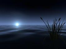Lever de la lune au lac Image stock