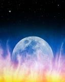 Lever de la lune de bleu de Firey Photos libres de droits