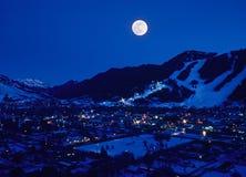 Lever de la lune de Jackson Hole Photographie stock