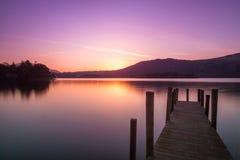 Lever de soleil à l'eau de Derwent, Keswick Photos stock