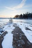 Lever de soleil à l'hiver image stock