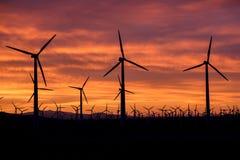 Lever de soleil à la ferme de moulin à vent Image libre de droits