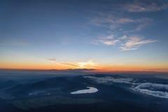 Lever de soleil à partir de dessus du mont Fuji Image libre de droits